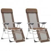 vidaXL Сгъваеми къмпинг столове с подложки, 2 бр, таупе, алуминиеви