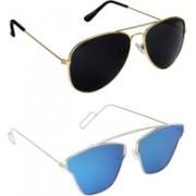 Pogo Fashion Club Aviator, Retro Square Sunglasses(Black, Blue)