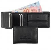 Tom Tailor Mini Geldbörse Tom Tailor Larry Leder Schwarz kleines Portemonnaie Geldbeutel