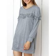 rosegal Long Sleeve Tunic Shift Dress with Tassel