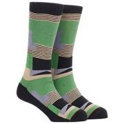 Soxytoes Blocks Black Cotton Calf Length Pack of 1 Pair for Men Formal Socks (STS0024A)