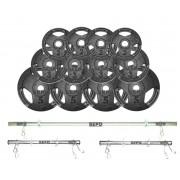 Kit de Anilhas Sport Luxo 40 Kg + Barras com Presilhas