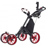 CaddyTek CaddyCruiser ONE V3 One-Click Folding 4 Wheel Golf Buggy - Red