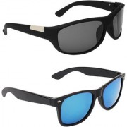Zyaden Black UV Protection Wrap Around Unisex Sunglasses (Pack of 2)