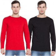 Cliths Pack Of 2 Cotton Full Sleeves Round Neck Tshirt for Men / Red and Black