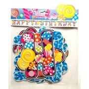 Banner cu litere Happy Birthday-Candy
