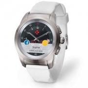 Хибриден смарт часовник MyKronoz ZeTime Original Silver/White, силиконова бяла каишка, KRON-ZETIME-REG-WHSIL