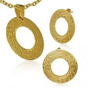 Kör alakú arany színű nemesacél medál és fülbevaló szett