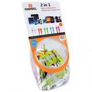 40 PCS Mixed Colors HAWEEL 2 in 1 Micro USB & 8 Pin to USB Data Sync Charging Cable Kit with Candy Cans Package for iPhone 7 & 7 Plus iPhone 6 Plus & 6s Plus Samsung Galaxy S6 / S5 Length: 1m