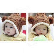Elf Style Fashion Wool Hat w / Dos Bolas para nino - Camel + White