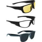 Zyaden Round Sunglasses(Yellow, Clear, Black)