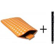 Polka Dot Hoesje voor Huawei Ascend Y210 met gratis Polka Dot Stylus, Oranje, merk i12Cover