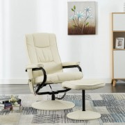 vidaXL Масажен стол с табуретка за крака, кремав, изкуствена кожа