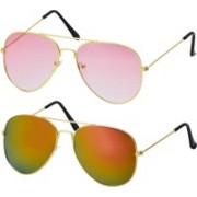 Freny Exim Aviator Sunglasses(Pink, Golden)