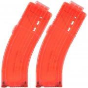 2pcs Modelo AK Curva Clips De Bala Suaves 15 Balas Para Nerf N-strike Pistola Juguete - Naranja