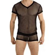 L'Homme Invisible Fishnet V Neck Short Sleeved T Shirt Black MY91-FIS-001