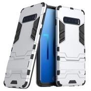 Armor Series Samsung Galaxy S10 Hybrid Case met Standaard - Zilver
