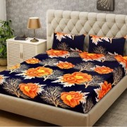 Luxmi 3D Printed flowers Design Double Bed sheets With 2 Piilow covers - Multicolor