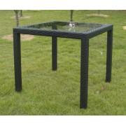 Stôl z čierneho ratanu so sklenenou doskou 80x80cm