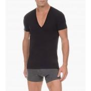2(x)ist Pima Cotton Slim Fit Deep V Neck Short Sleeved T Shirt Black 3104104101-00101