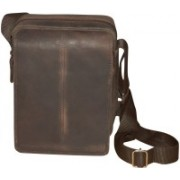 Style 98 Men & Women Brown Genuine Leather Shoulder Bag