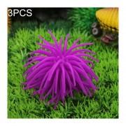 3 PCS Acuario Articulos Decoracion TPR Simulación Erizo Bola De Coral, Tamaño: S, Diámetro: 7 Cm (purpura)