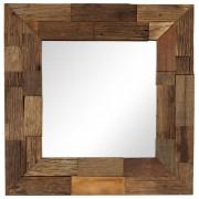 vidaXL Espelho em madeira recuperada maciça 50x50 cm