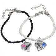 Men Style Best Friend Couple Handmade Loves jewelry Black White Silver Zinc Leather Bracelet