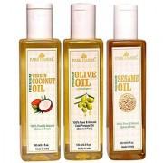 Park Daniel Premium Sesame oil Olive oil Virgin coconut oil combo of 3 bottles of 100 ml(300 ml)