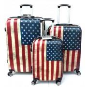 Max A29af kufr skořepinový cestovní ABS set 3ks Vlajka USA