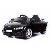 Mașinuță electrică pentru copii Audi TT, Neagră, Licență Originală, cu Baterii, Uși care se deschid, Scaune din Piele, 2x Motoare, Baterie de 12 V, Telecomandă 2.4 Ghz, roți ușoare EVA, pornire Lină