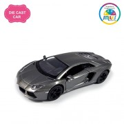 Smiles Creation Kinsmart 1:38 Scale Pull Back Action Lamborghini Aventador LP 700-4 Scissor Style Door Opening Car with Glossy Finishing Exteriors Toys, Gray (5-inch)
