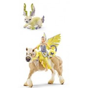 Schleich Bayala Fantasy Life Set of 2: Sera in Festive Clothes, Riding (70503) with her Leaf Rabbit (70528) Bagged Together Partially Concealed: Durable, Highly Detailed, Realistic, Hand-painted