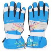 Deportes al aire libre esqui caliente taslan + guantes de algodon de dedo completo - azul