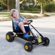 HOMCOM Go Kart Carro de Pedais Racing Desportivo com Assento Ajustável Embraiagem e Travão 95x66,5x57 cm Branco e Preto