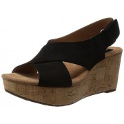 Clarks Women's Caslynn Shae Black Wedge Sandals - 7 UK