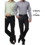 Men's Suiting & Shirting Combo 4 Pcs (2Trouser and 2 Shirt Fabric)