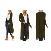 Women's Isaac Liev Women's Extra Long Cardigan Duster S-3X Olive 2X-Large Cream
