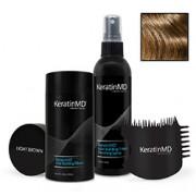 KeratinMD HAIR BUILDING FIBERS (Light Brown) VALUE PACK