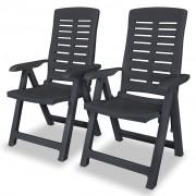 vidaXL Rozkładane krzesła ogrodowe, 2 szt., plastikowe, antracytowe