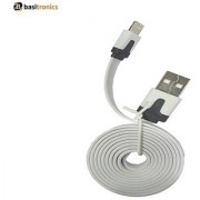 Basitronics Flat Small Lightning to USB Charging and Data cable 3 feet 0.9 Meters White