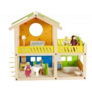 Căsuţă pentru păpuşi din lemn Happy Villa, cu familie de păpuşi şi obiecte de mobilier