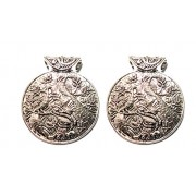 Goelx Antique Silver Designer Round Peacock Pendant for Necklace Making, Pack of 2- Design 9