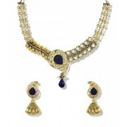 Zaveri Pearls Antique Jewellery filigree leaf Design with kundan and Haram Layers Necklace Set - ZPFK5217
