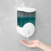 Szenzoros szappanadagoló - 600 ml - fali - elemes - füst színű - (51120B)