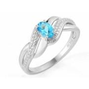 Prsten, bílé zlato, modrý topaz (blue topaz) 3861737