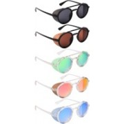 NuVew Round, Shield Sunglasses(Black, Brown, Green, Yellow, Red, Golden, Blue)