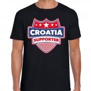 Bellatio Decorations Kroatie / Croatia schild supporter t-shirt zwart voor heren S - Feestshirts