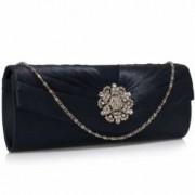 Geanta clutch bleumarin din satin Leesun de dama LSE00104