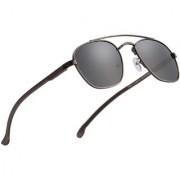 Royal Son Black Polarized Retro Square Sunglasses For Men Women Stylish (Unisex Aviator Goggles With Spring)